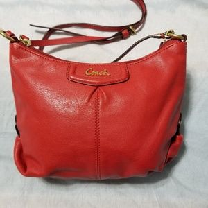 Coach Mini Purse Cursive Branding Red Leather